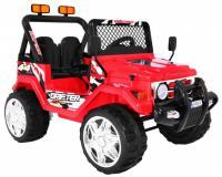 Erős Jeep típusú elektromos kisautó - piros színben